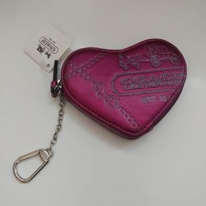 Coach Jewel Heart Coin Purse, pink leather Magenta